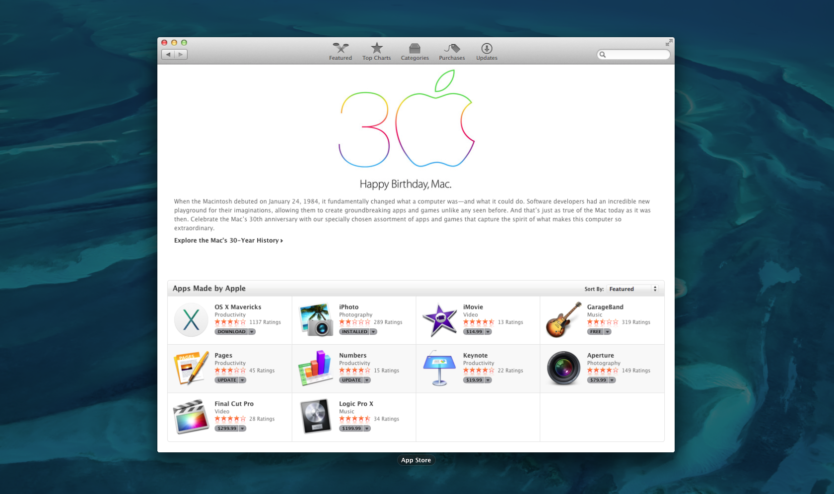 Mac App Store - 30 years of Macintosh